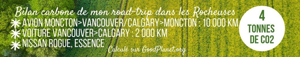 bilan carbone voyage road-trip rocheuses canada