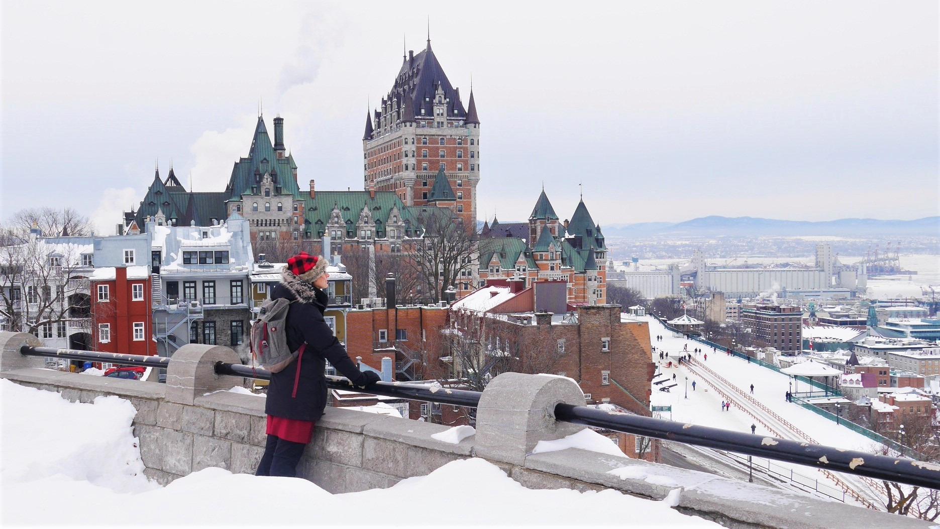 Quebec noel château Frontenac terrasse dufferin comment s'habiller canada hiver blog voyage arpenter le chemin